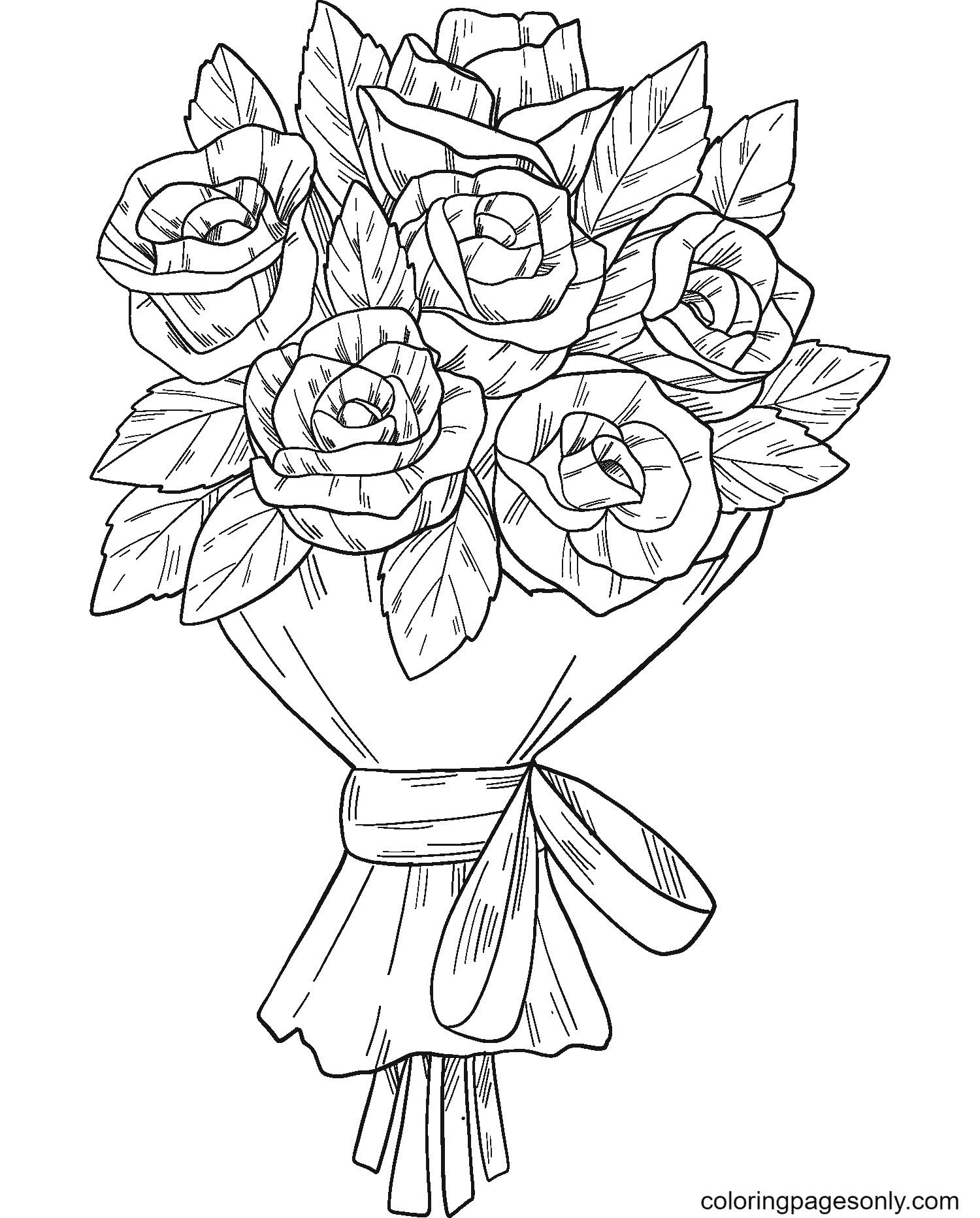 Bouquet of Roses Coloring Page