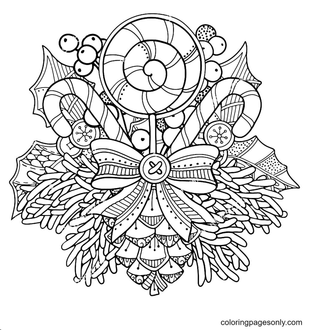 Bow, Lollipops and Branches Coloring Page