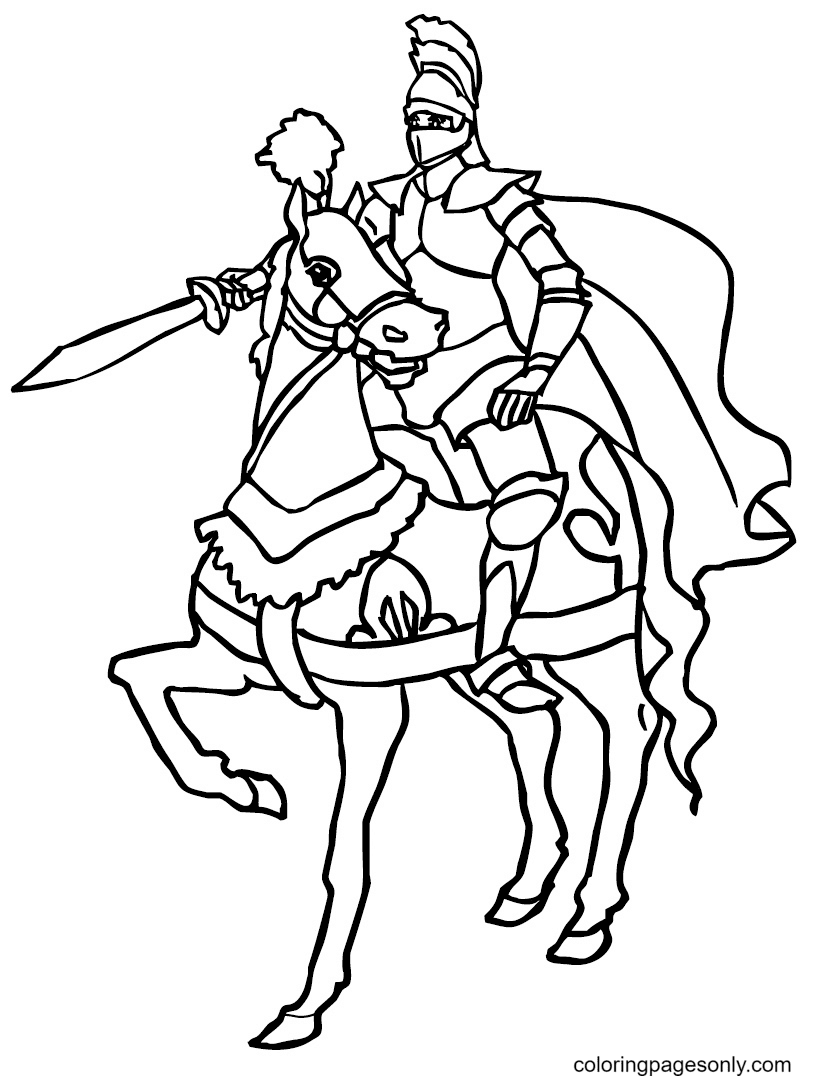 Brave Knight Coloring Page
