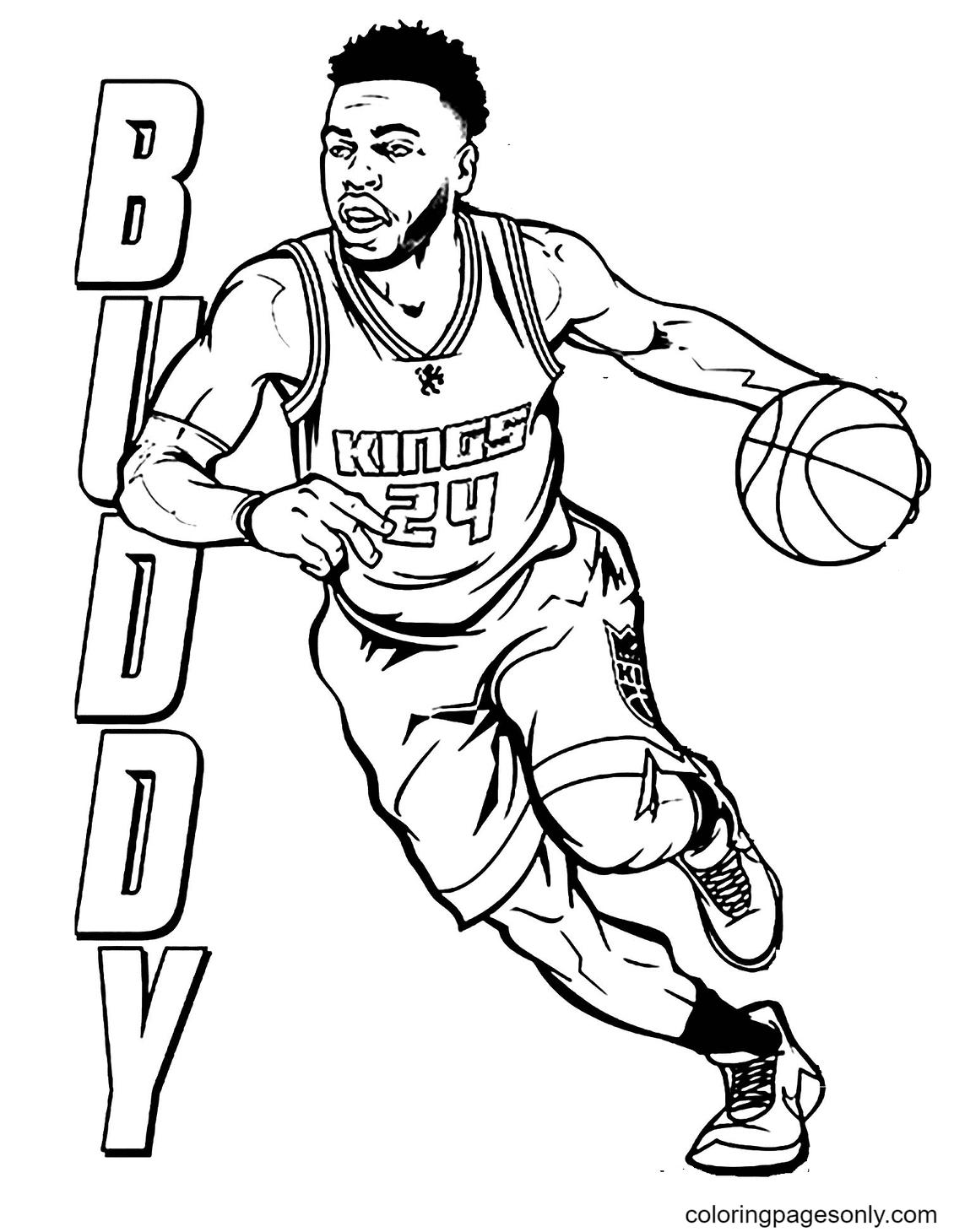Buddy Playing Basketball Coloring Page