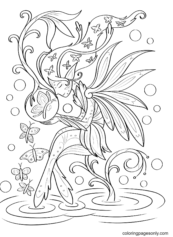 Butterflies And Fairies Coloring Page