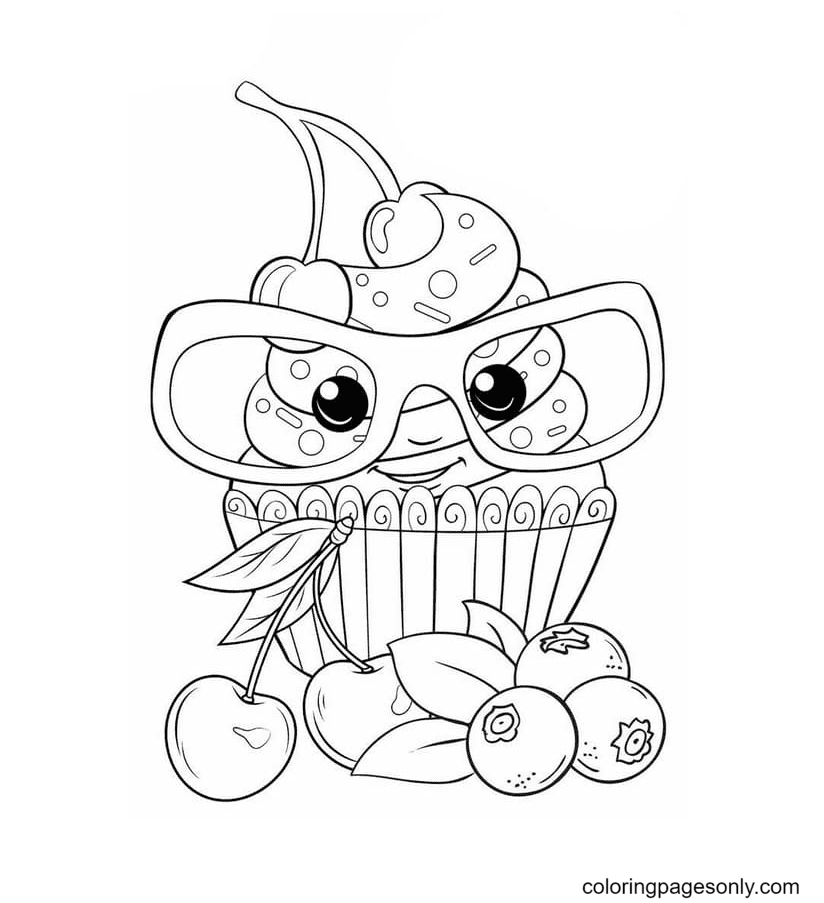 Cake with glasses Kawaii Coloring Page