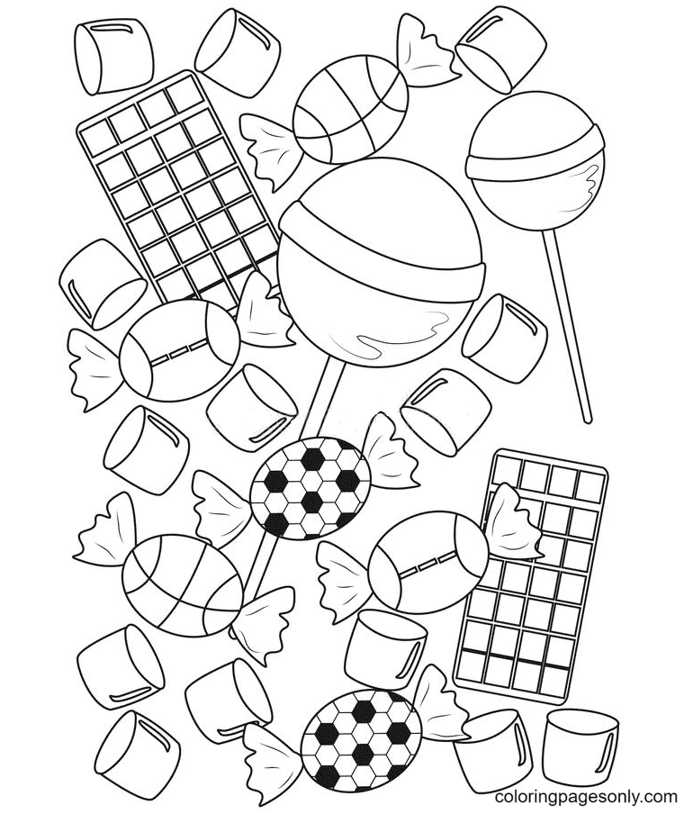 Candies Cute Printable Coloring Page