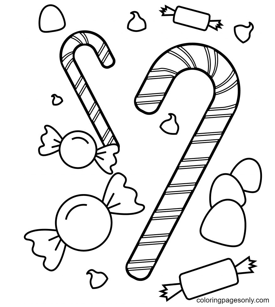 Candies Printable Coloring Page