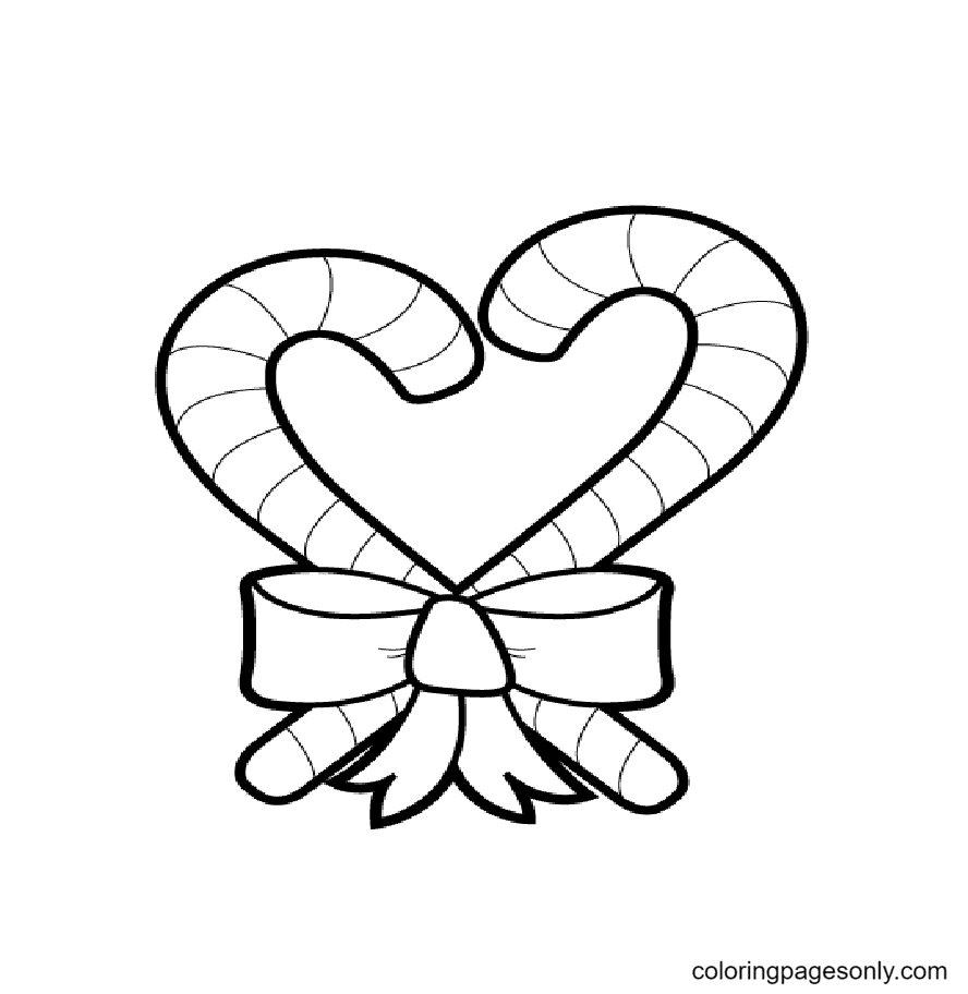 Candy Cane Heart Coloring Page