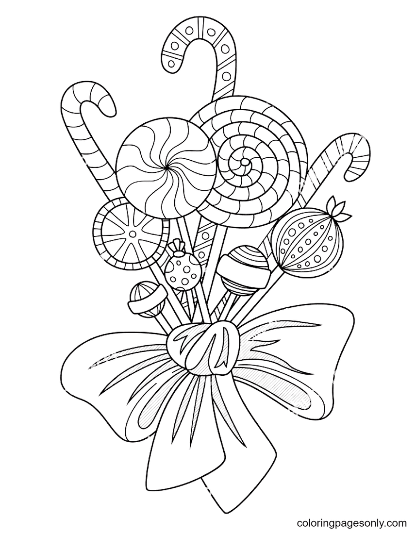 Candy Cane and Lollipops Coloring Page