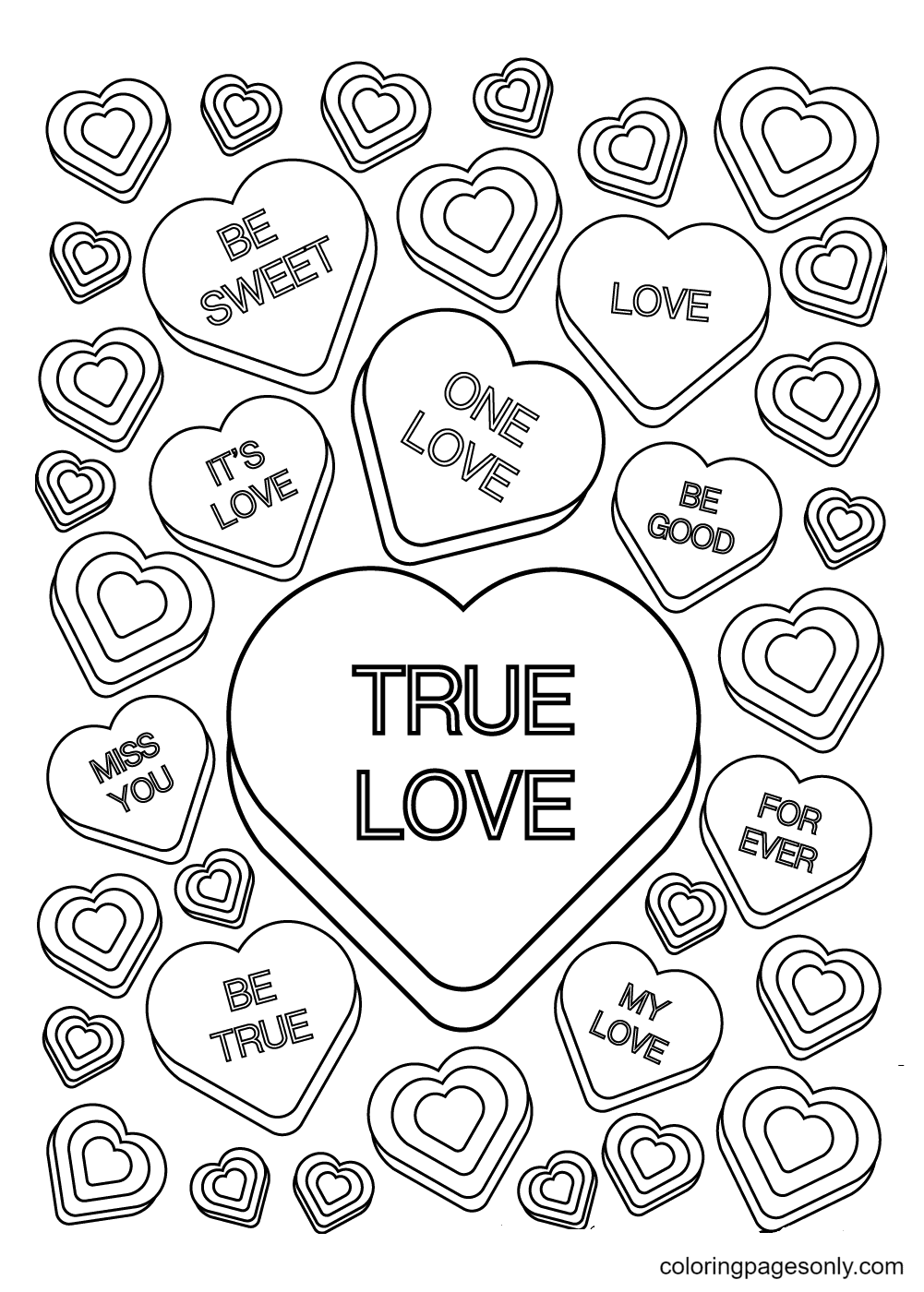 Candy Hearts Coloring Page