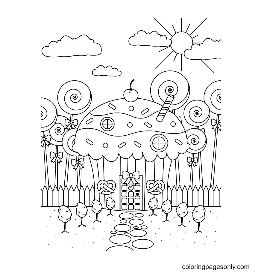Candy House Printable Coloring Page