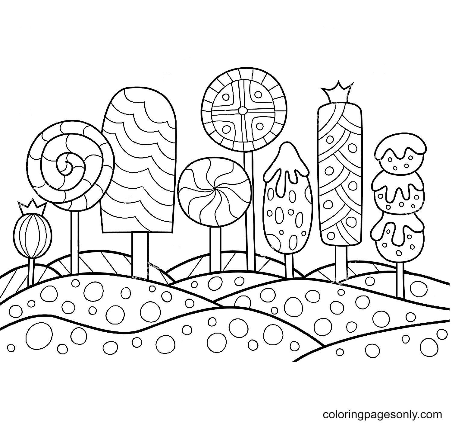 Candy Island Coloring Page