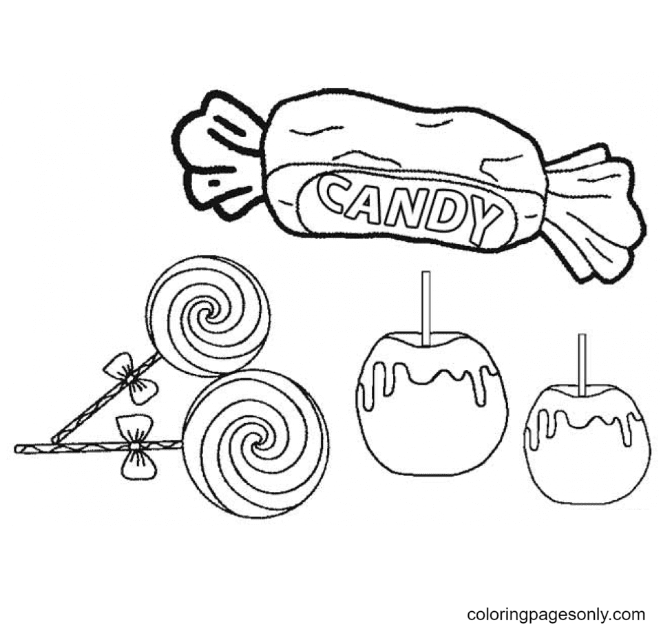 Candy Pictures to Print Coloring Page