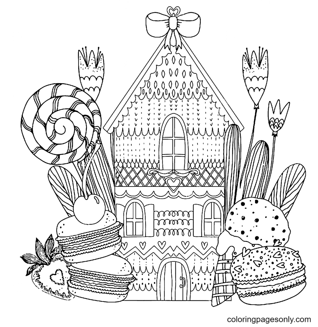 Candy and Fruit House Coloring Page