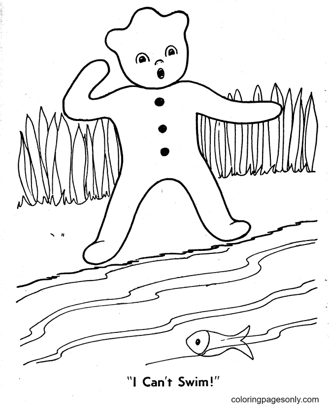 Can't Swim Gingerbread Man Coloring Page