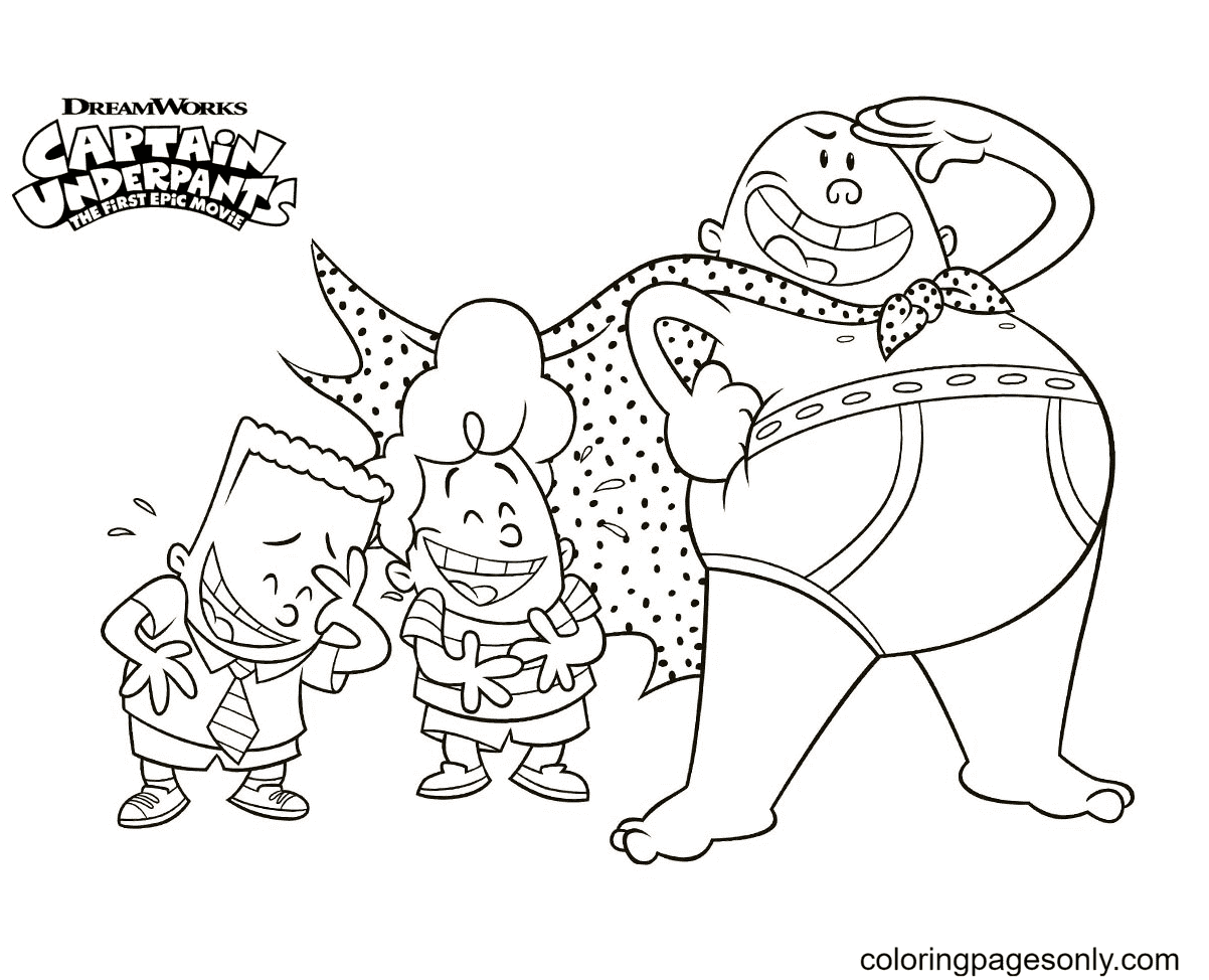 Captain Underpants With George And Harold Coloring Page