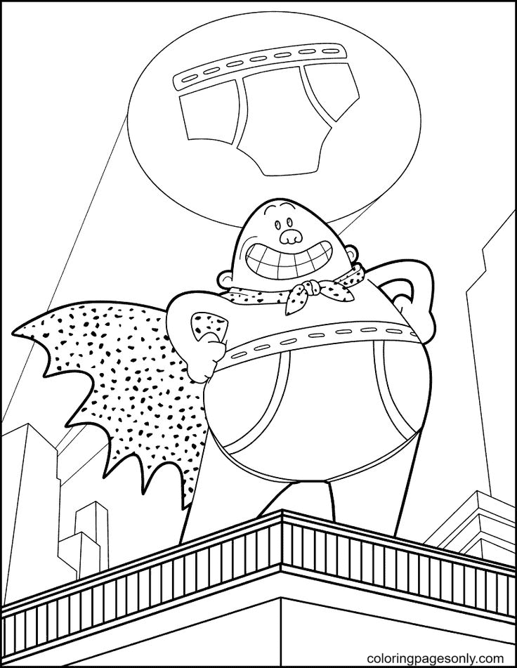 Captain Underpants With Underpant Symbol Coloring Page