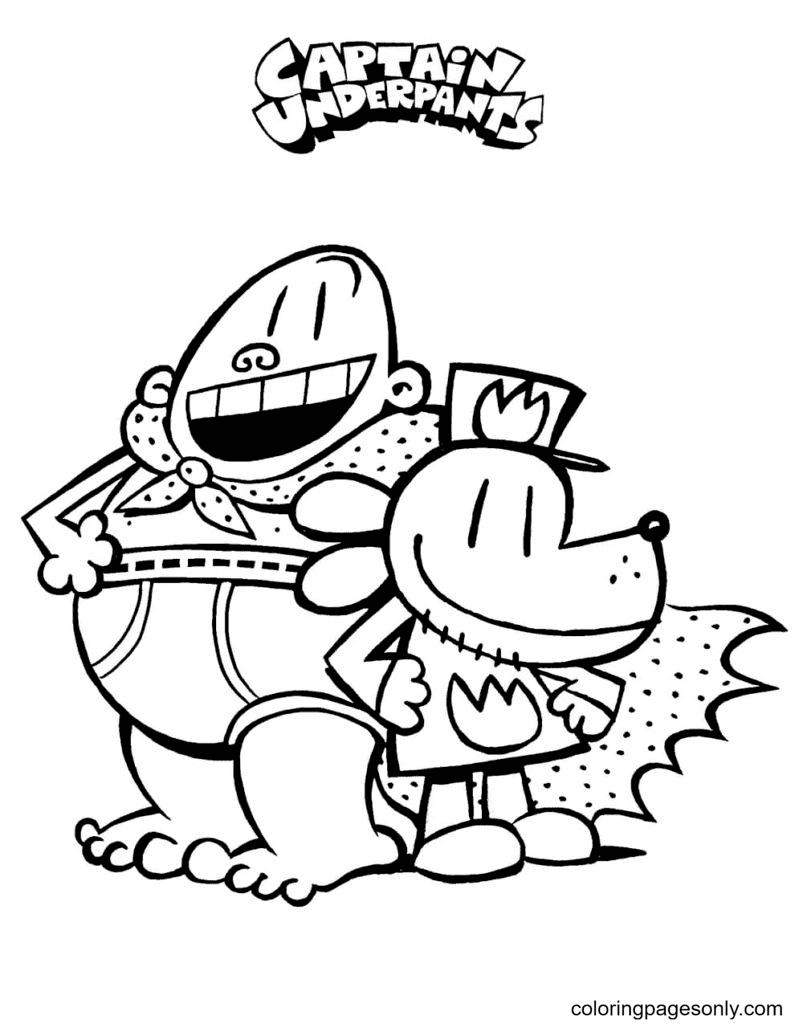 Captain Underpants and Dog Coloring Page