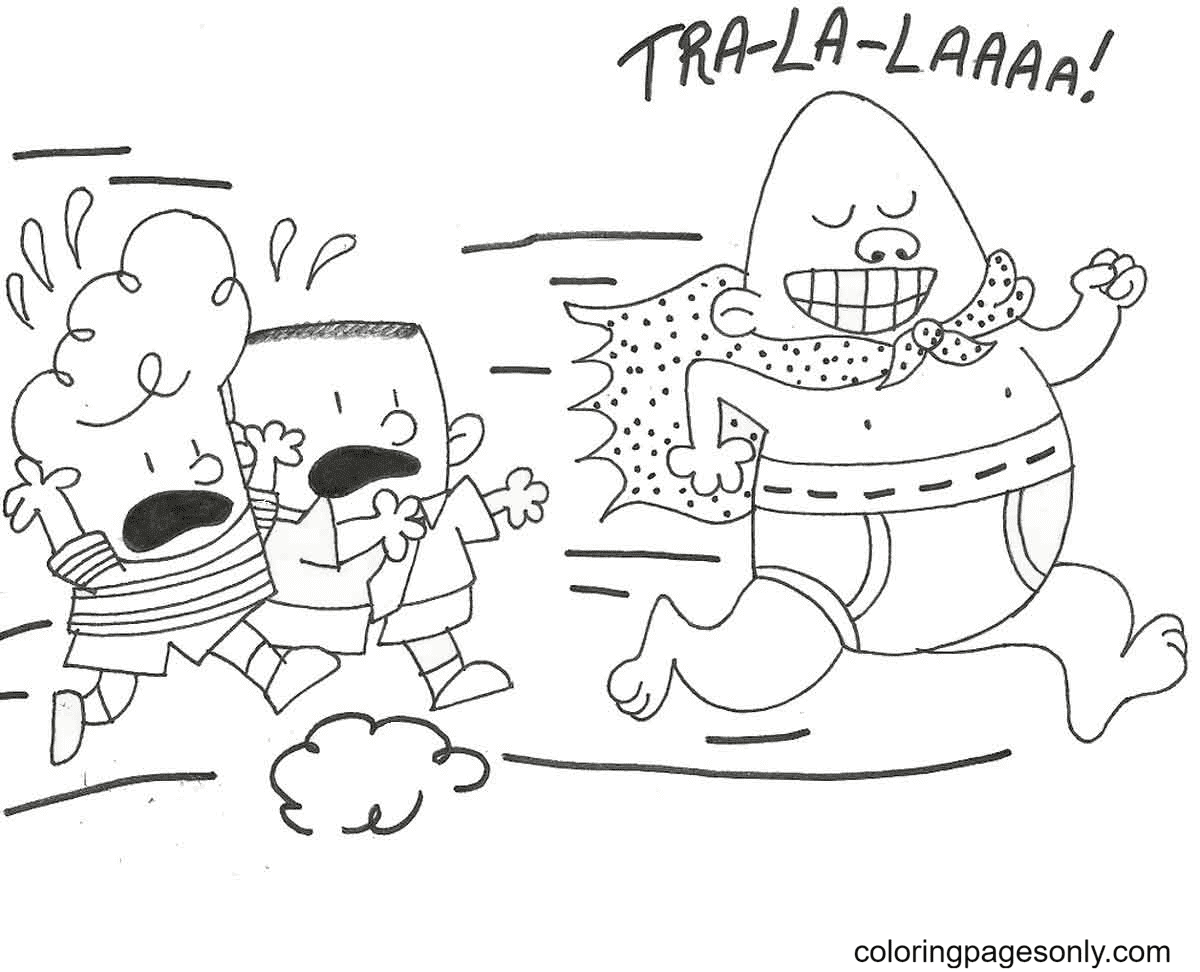 Captain Underpants and George with Harold Coloring Page
