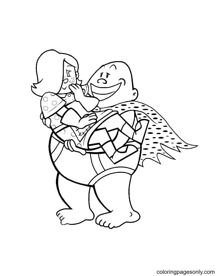 Captain Underpants holding a Girl Coloring Page