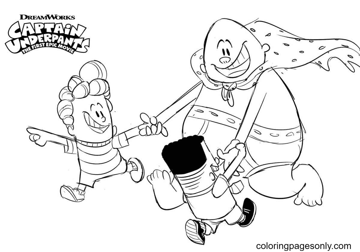 Captain Underpants playing with George and Harold Coloring Page