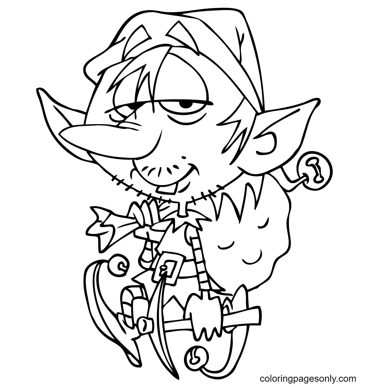 Cartoon Elf Carrying Santa Bag Coloring Page