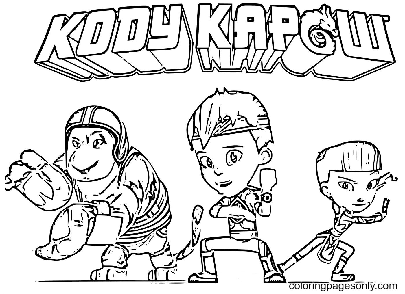 Cartoon Kody Kapow Coloring Page