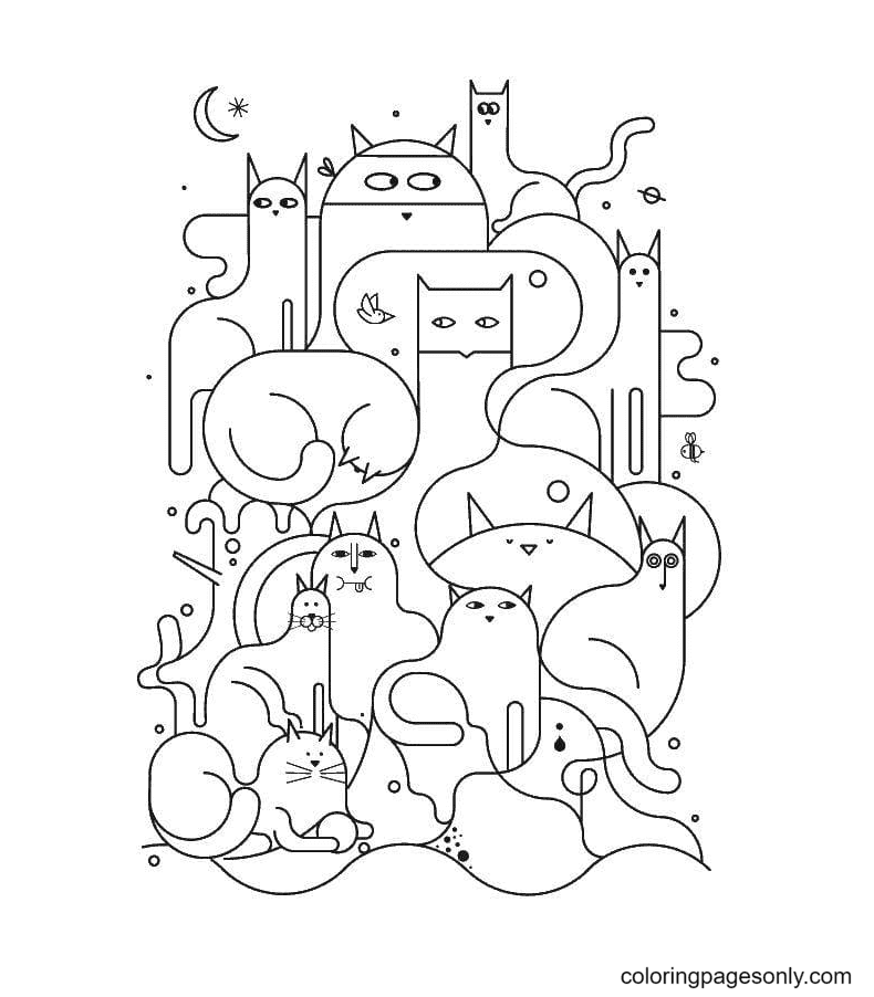 Cat Aesthetics Coloring Page