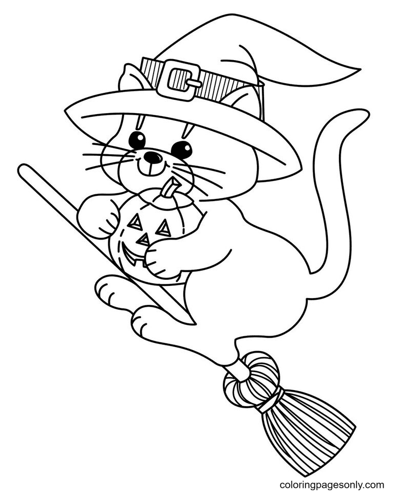 Cat Halloween Coloring Page