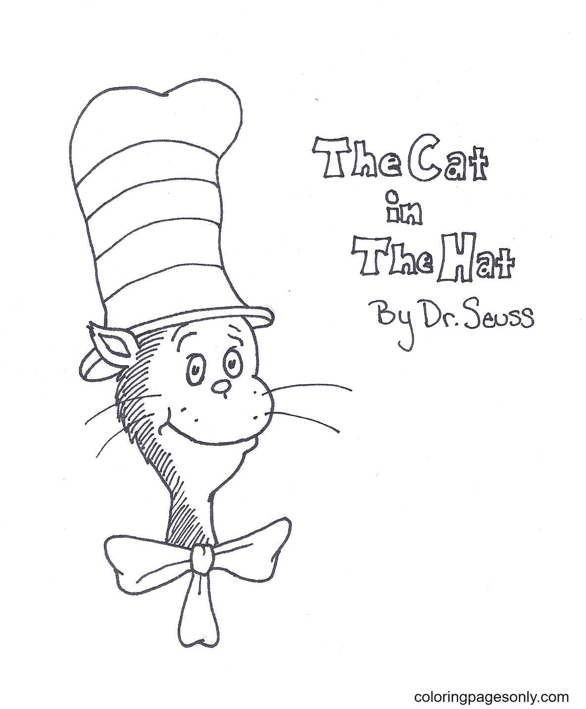Cat In The Hat By Dr Seuss Coloring Page