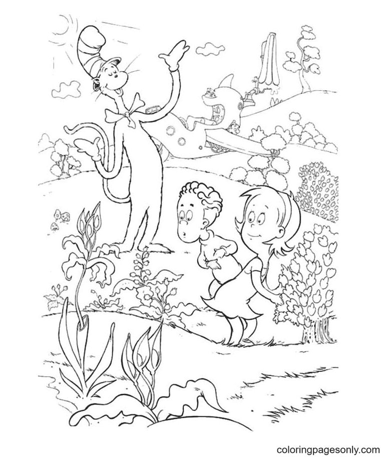 Cat In The Hat Show Sally And Her Brother His Garden Coloring Page