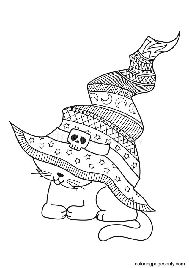 Cat In The Witch Hat Coloring Page