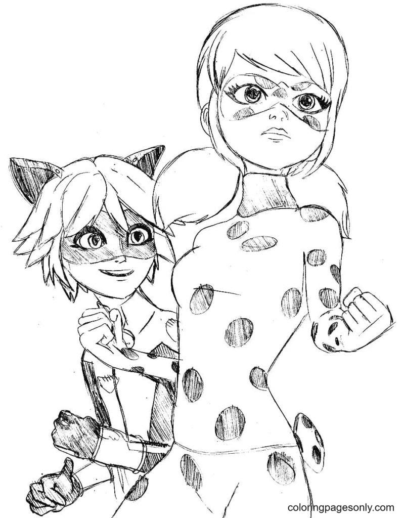 Cat Noir, Ladybug Coloring Page