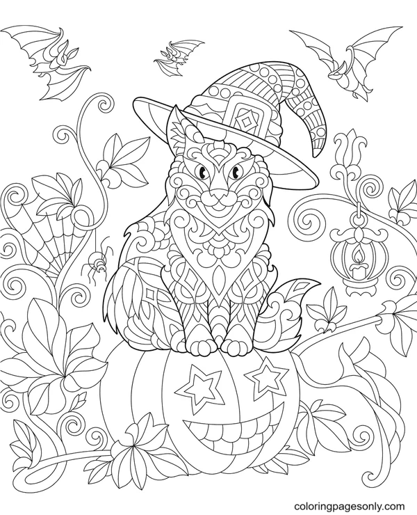 Cat, Pumpkin and Bat Coloring Page