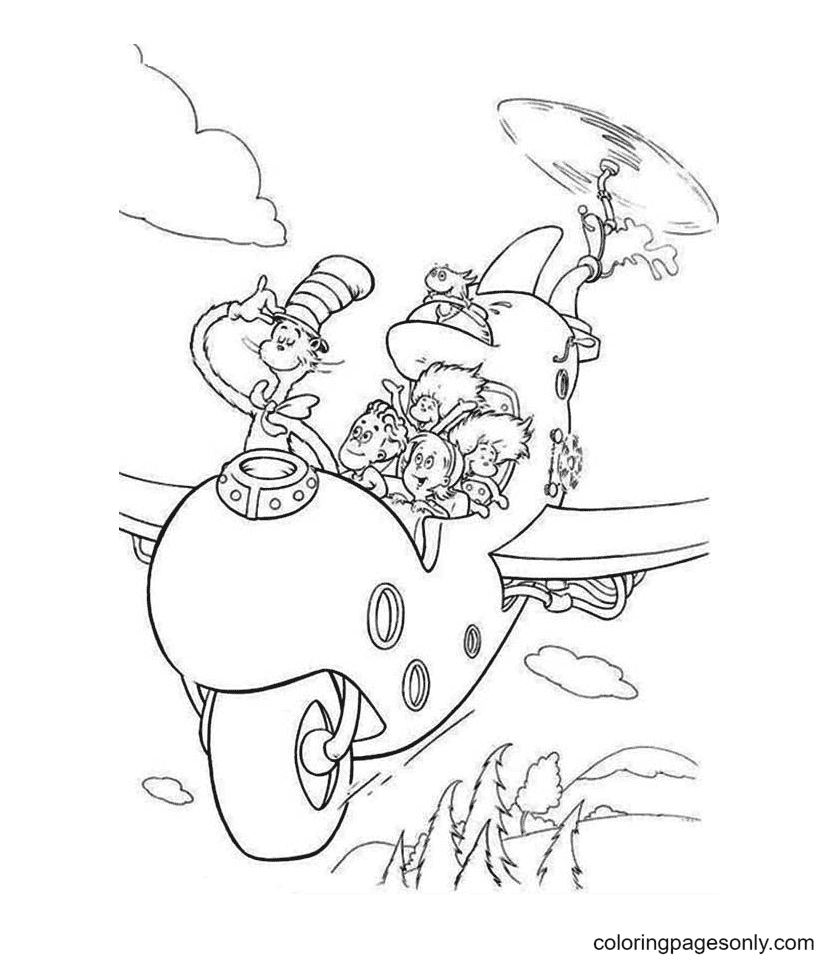 Cat, Sally and Thing One, Thing Two Coloring Page