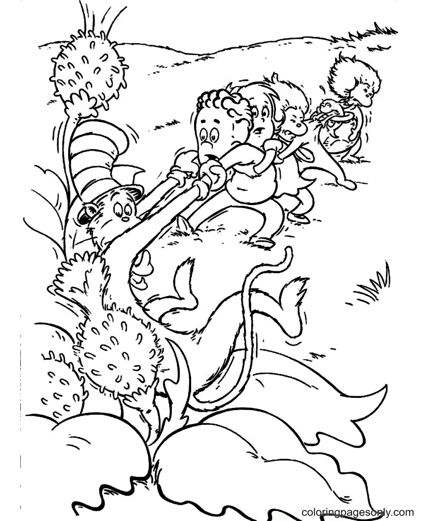 Cat and Friends Coloring Page