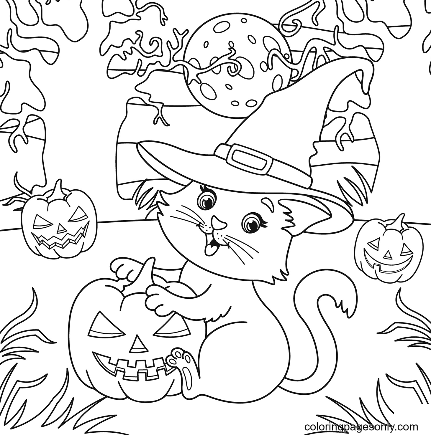 Cat in Witch Hat and Jack o' lanterns Coloring Page
