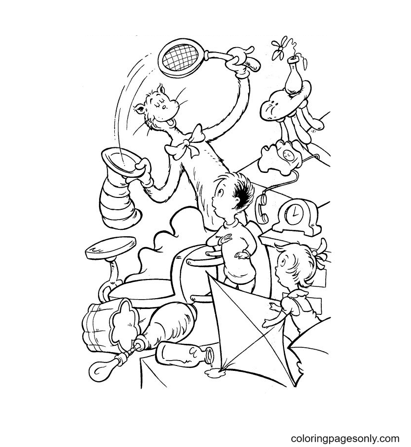 Cat in the Hat is playing with Sally and the Boy Coloring Page
