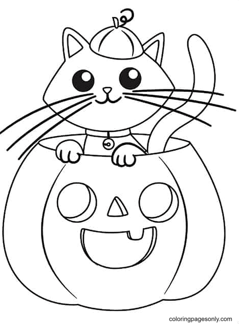 Cat in the Pumpkin Lamp Coloring Page