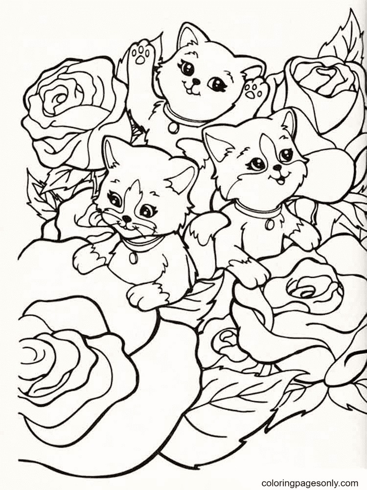 Cats With Roses From Lisa Frank Coloring Page