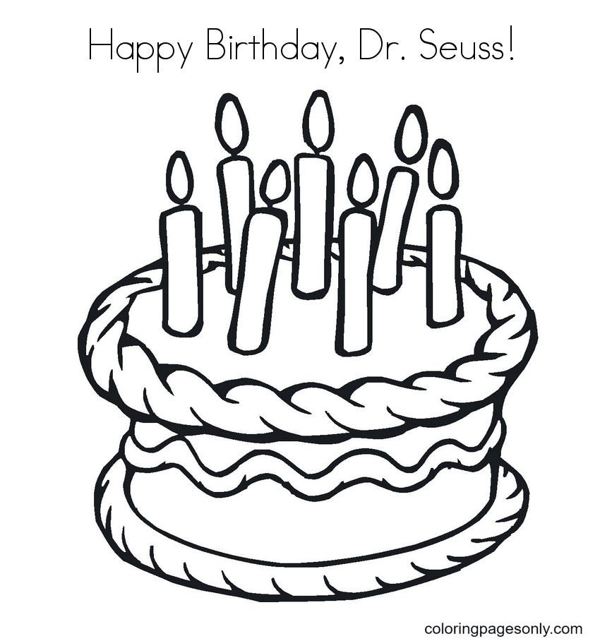 Celebrating The Birthday of Dr Seuss Coloring Page