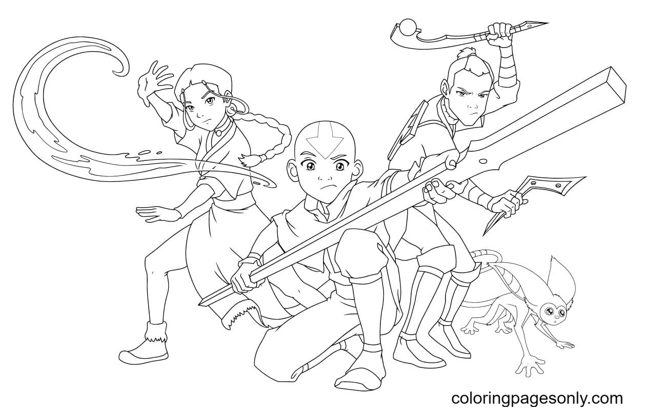Characters from Avatar Coloring Page