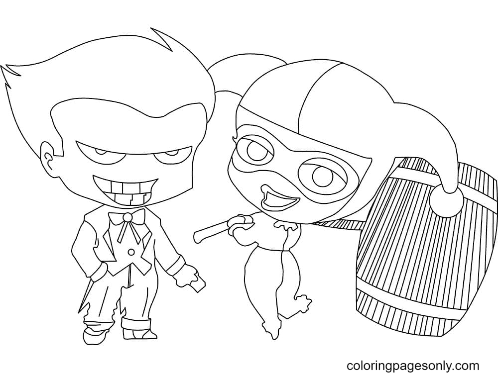 Chibi Joker with Harley Coloring Page