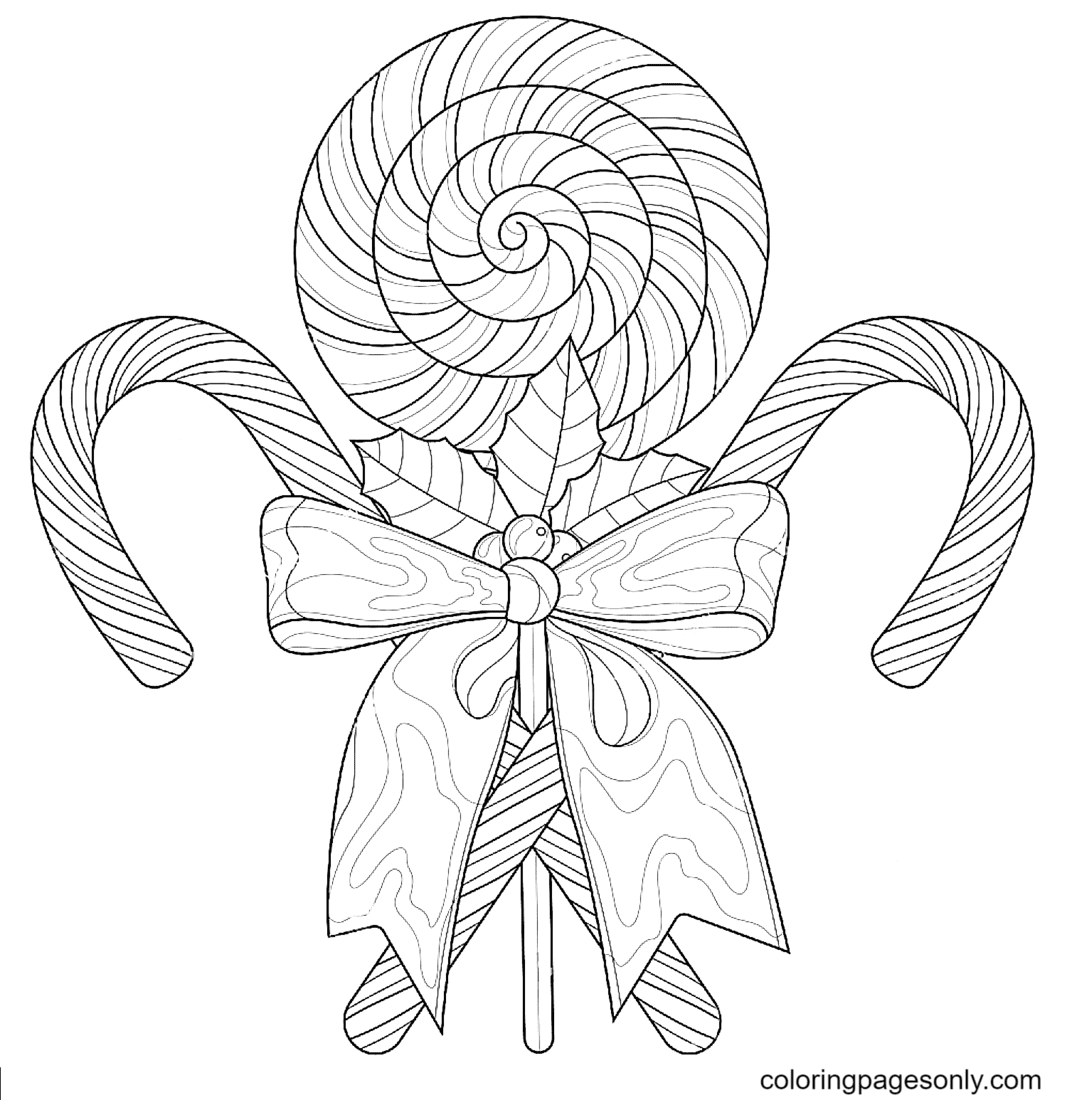 Christmas Candies with Bow Coloring Page