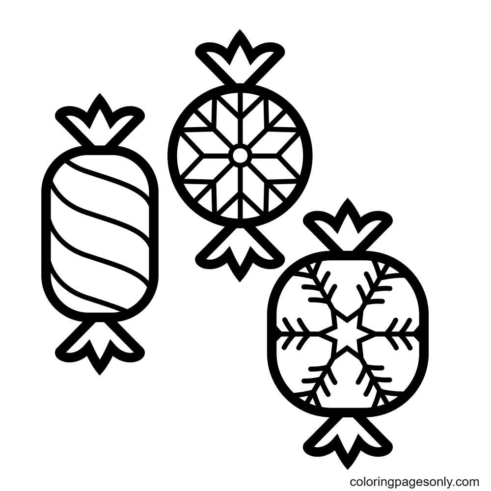 Christmas Candies Coloring Page