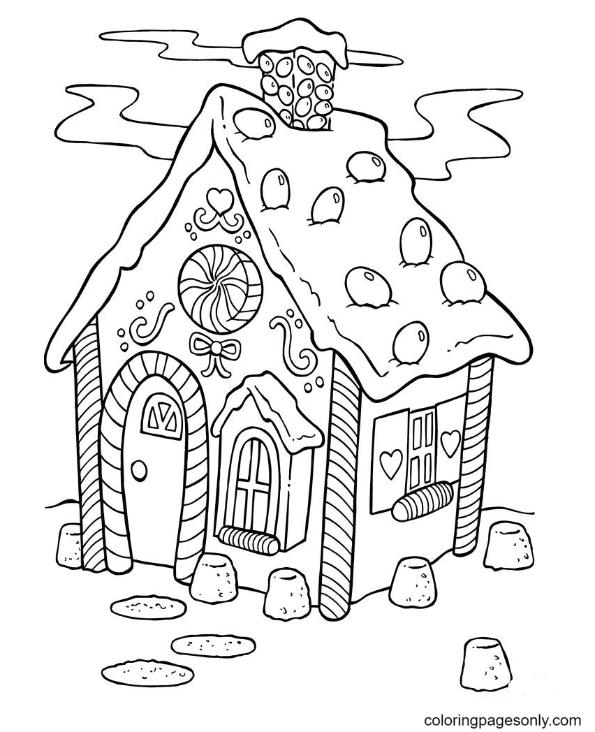 Christmas Candy House Coloring Page