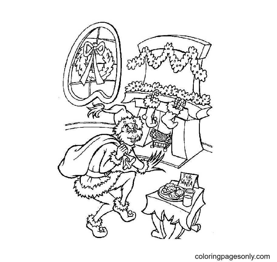 Christmas Cat In The Hat Coloring Page