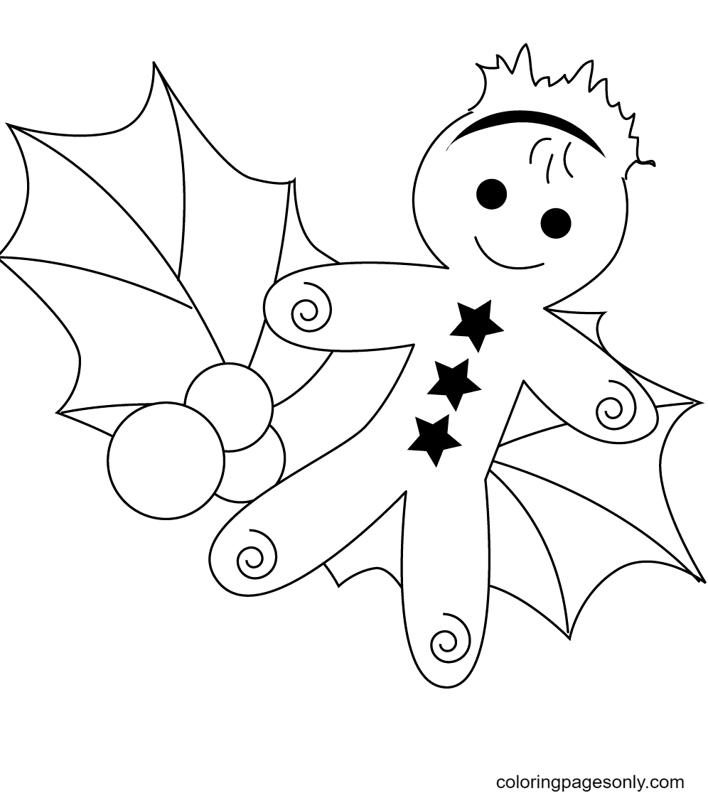 Christmas Gingerbread Man and Holly Leaf Coloring Page