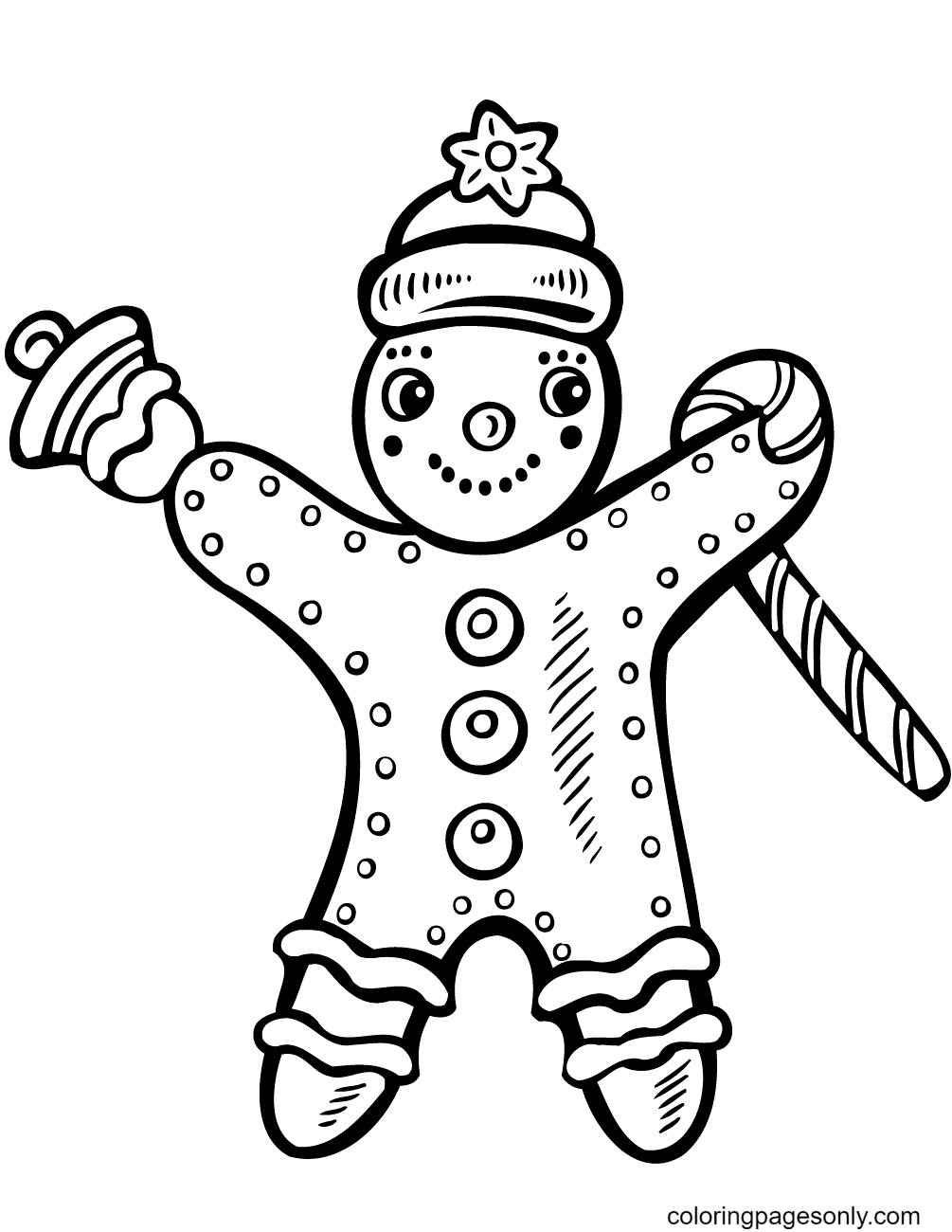 Christmas Gingerbread Man with Candy Cane and Bell Coloring Page