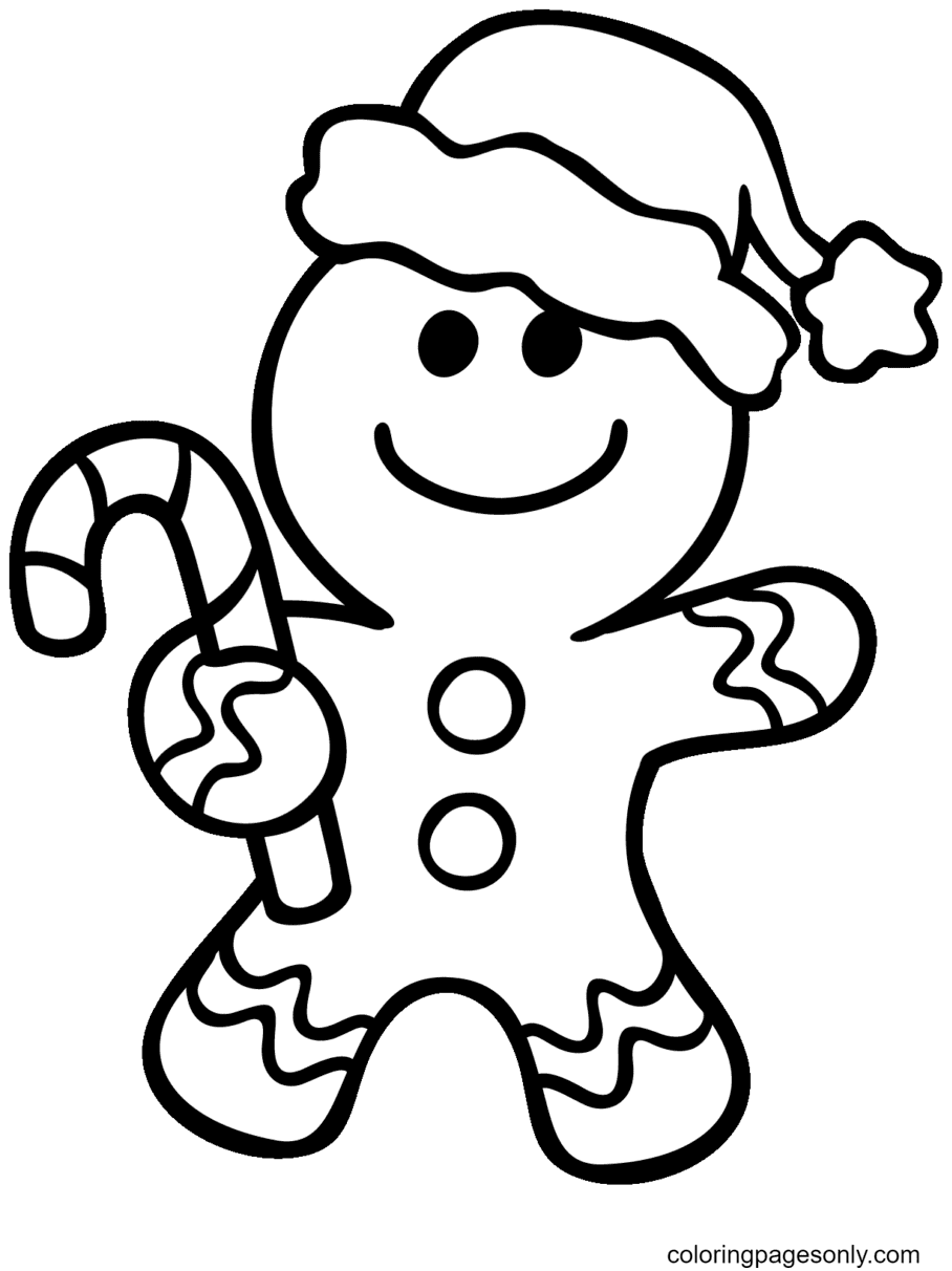 Christmas Gingerbread Man with Candy Cane Coloring Page