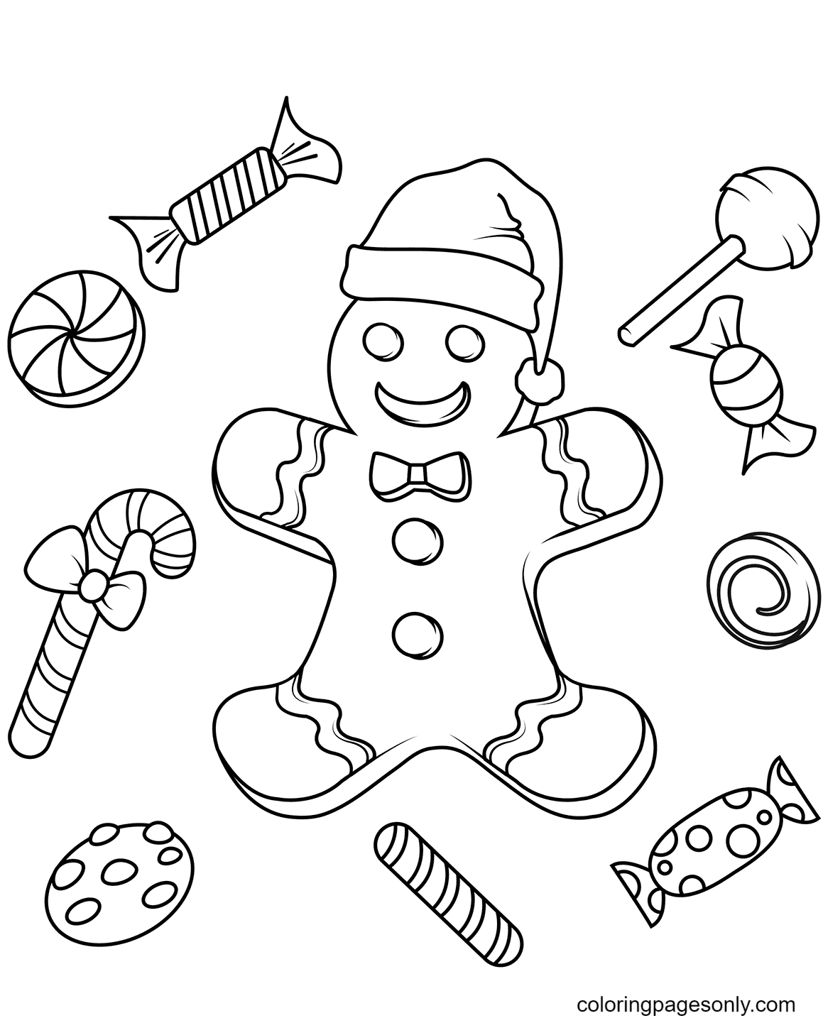 Christmas Gingerbread with Candies Coloring Page