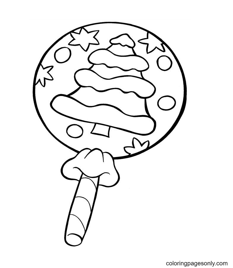 Christmas tree in Lollipops Coloring Page
