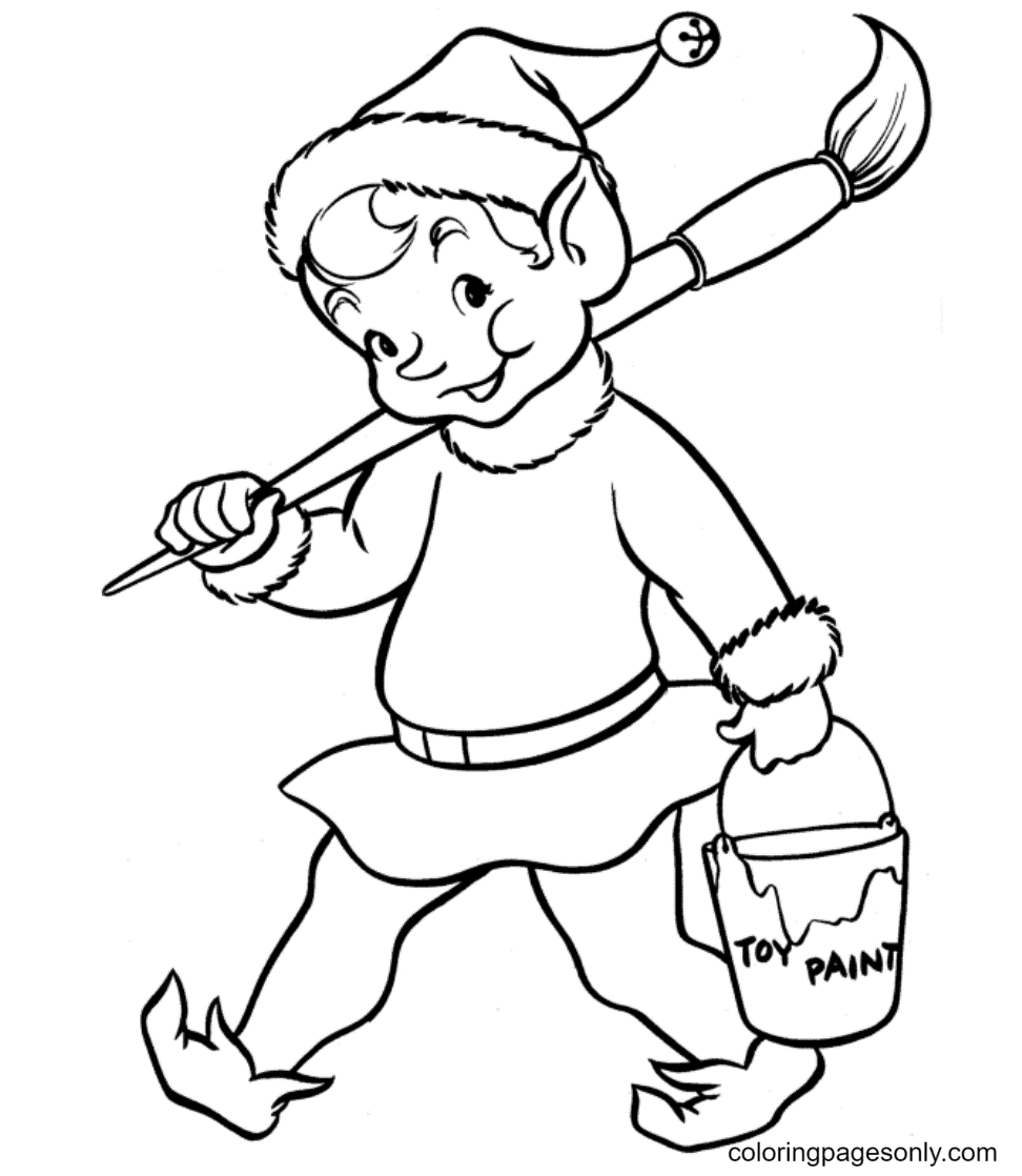 Chubby Elf With Paint Coloring Page
